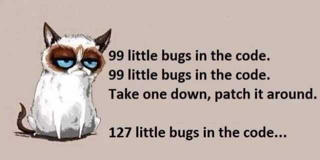 Grumpy cat with bugs