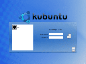 Screenshot of the login screen in Kubuntu 8.04...