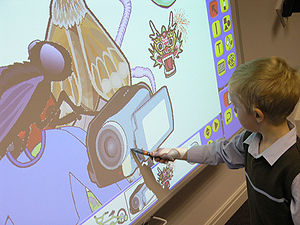 A student using an Interactive Whiteboard