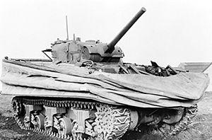 Sherman DD (Duplex Drive) amphibious tank with...