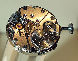 Prim clockwork of a wristwatch, watchmaking ex...