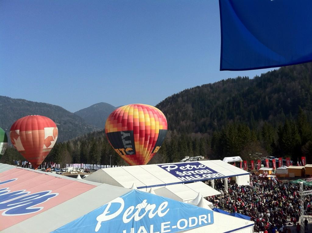 Plenty of balloons behind the VIP area