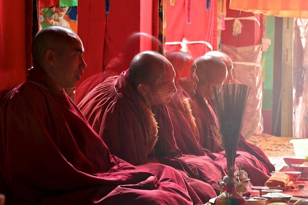 Tibetan monks and tea