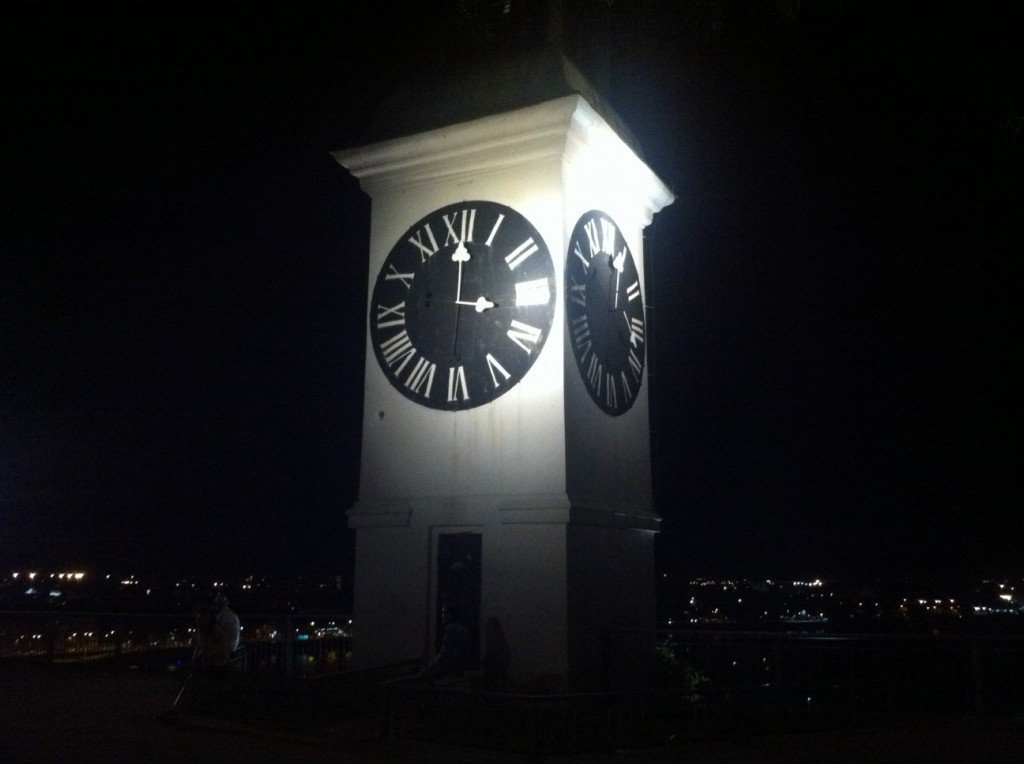 Clock tower with inverted hands