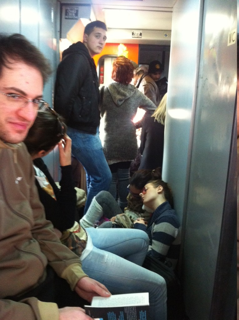 A packed train from Belgrade