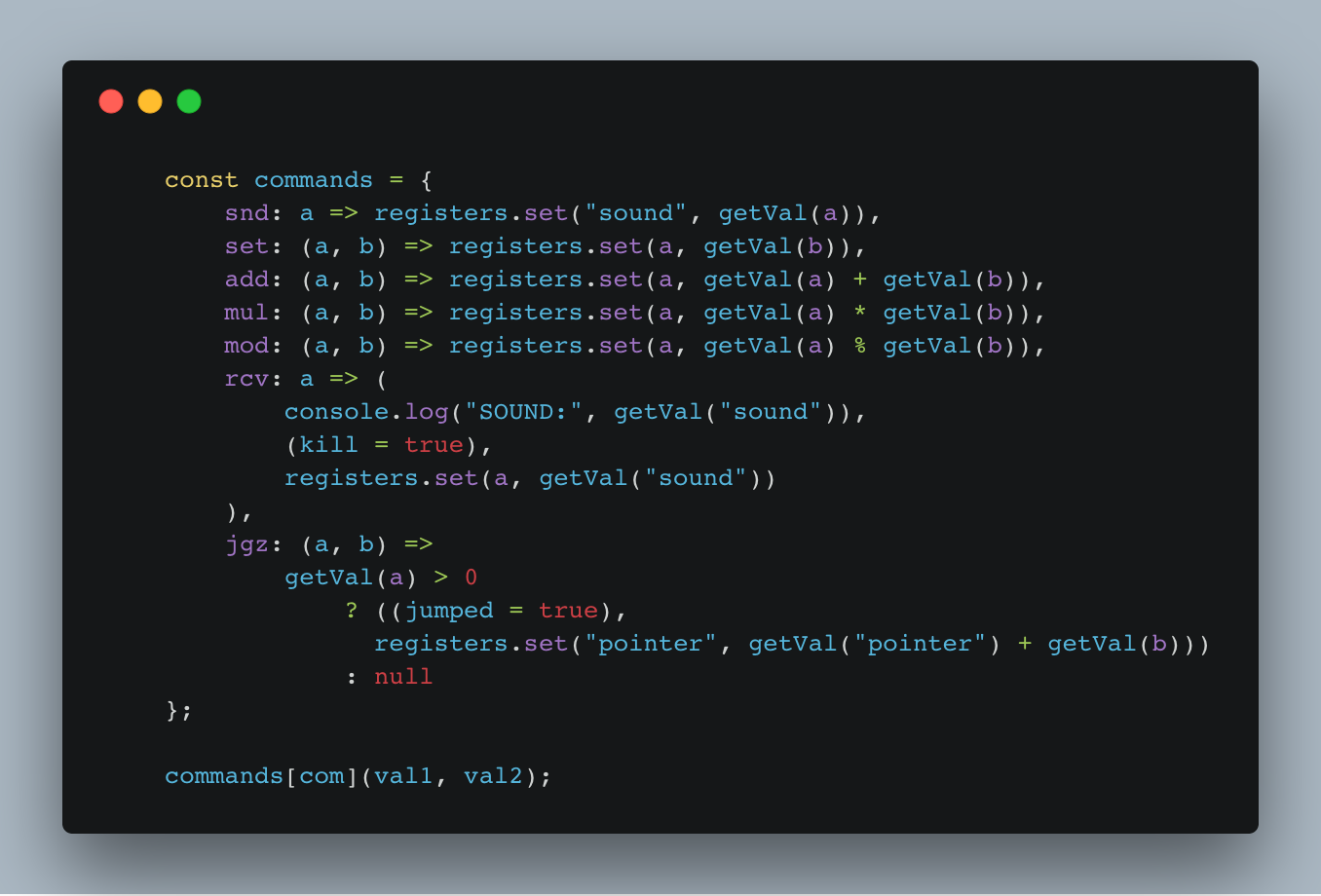 The gist of a simple interpreter built in JavaScript