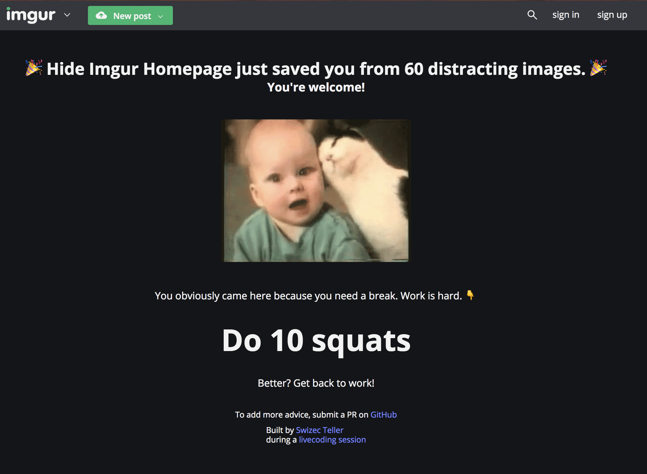 HideImgur replaces the homepage with useful tips