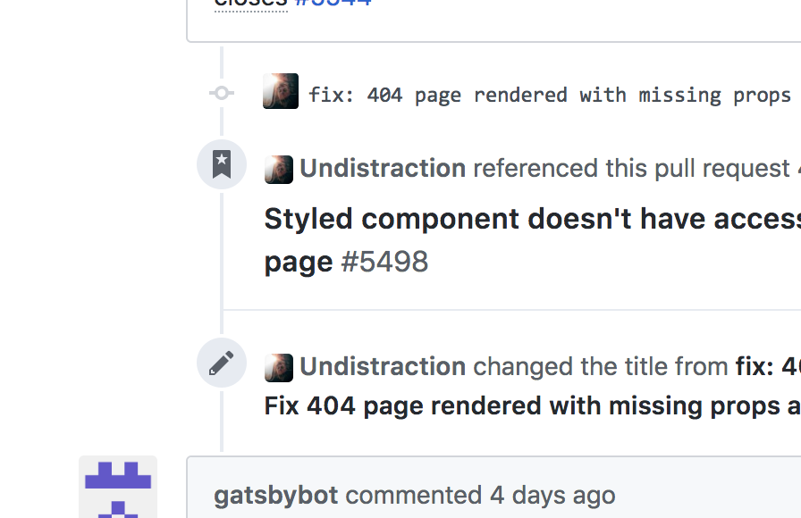 GitHub shows the PR process using connected event icons with descriptions