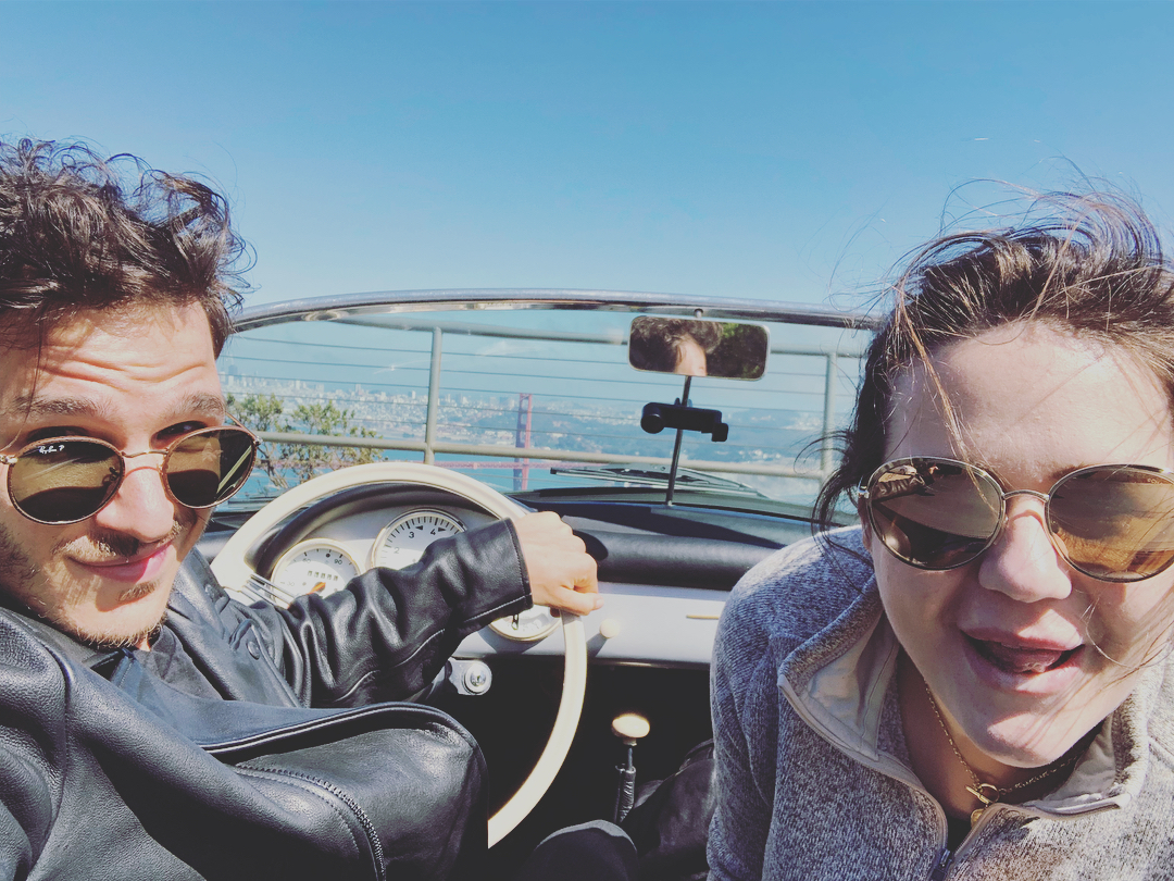 Me and my girl in a vintage Porsche